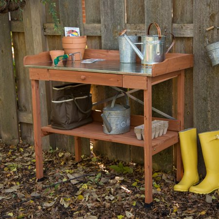 Cypress Wood Lotus Potting Bench with Metal (Cypress Wood)
