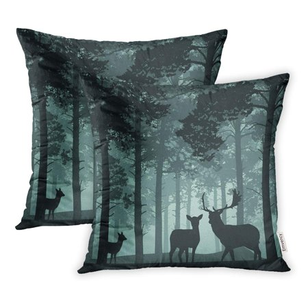 YWOTA Green Pine Deep Forest Deer Doe and Fawn Woods Abstract Pillow Cases Cushion Cover 16x16 inch