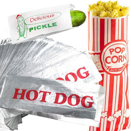Classic Look Pickle, Hot Dog and Popcorn Bags 100 Pack by Avant Grub. Turn Your Party into a Vintage Carnival with a Snack Bag Trio for Favors or Treats. Great for Themed Parties! (80s Party Themes)