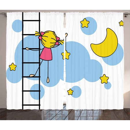 - House Decor Curtains 2 Panels Set, Little Girl Ladder Hanging a Star in Night Sky with Half Moon Cartoon Picture, Window Drapes for Living Room Bedroom, 108W X 90L Inches, Yellow Blue, by Ambesonne