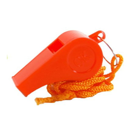 Bulk Lot of 100 NEW Safety Plastic Whistle with Lanyard Orange/Yellow, 100 Whistles Bulk Pack By Blue Ty - Bulk Lanyard