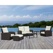 Corvus  Sarita Outdoor 6-piece Brown Wicker Seating Set with Sunbrella Fabric Cushions