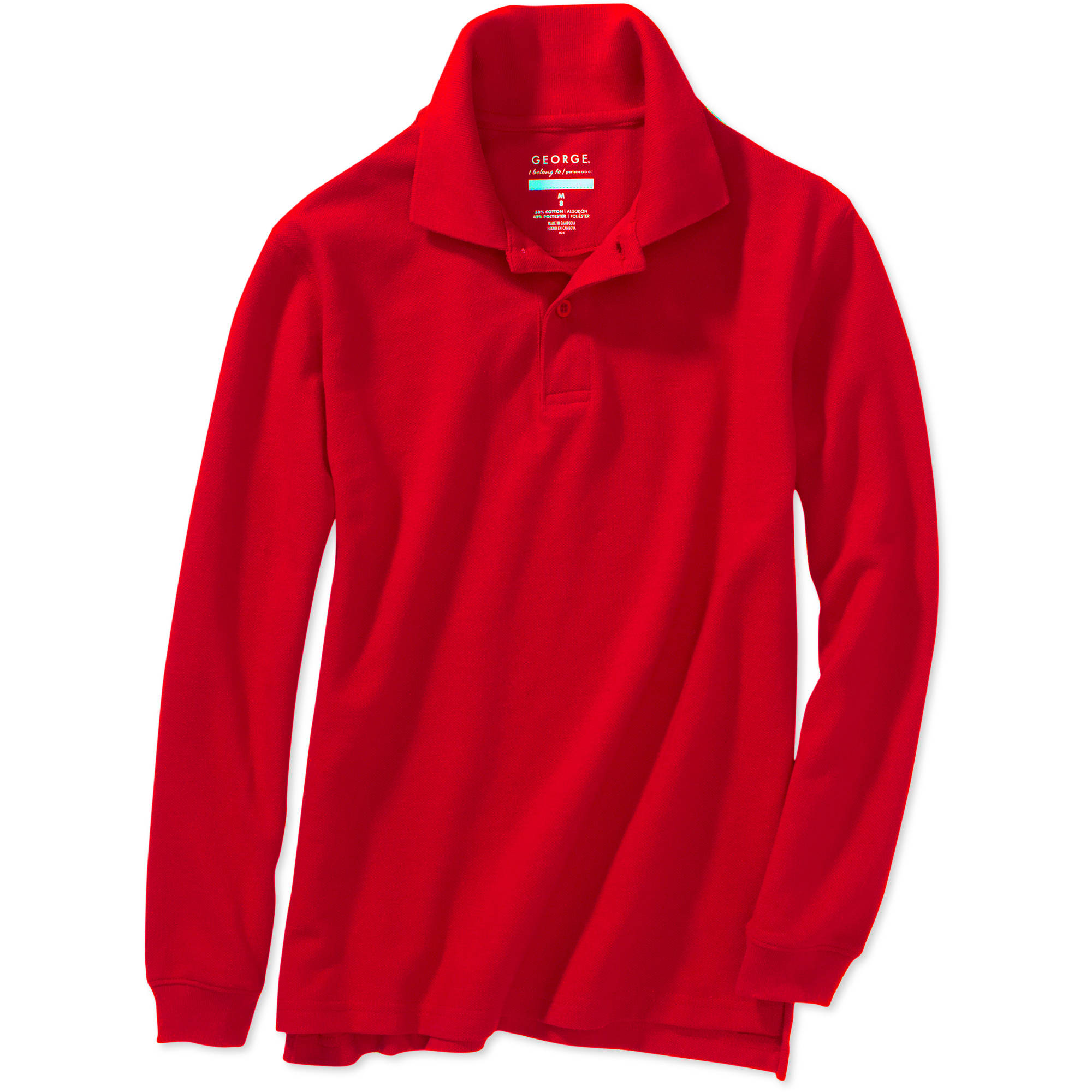 George Boys School Uniforms Long Sleeve Pique Polo Shirt