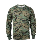 Woodland Digital Camo Long Sleeve Mens T-shirt