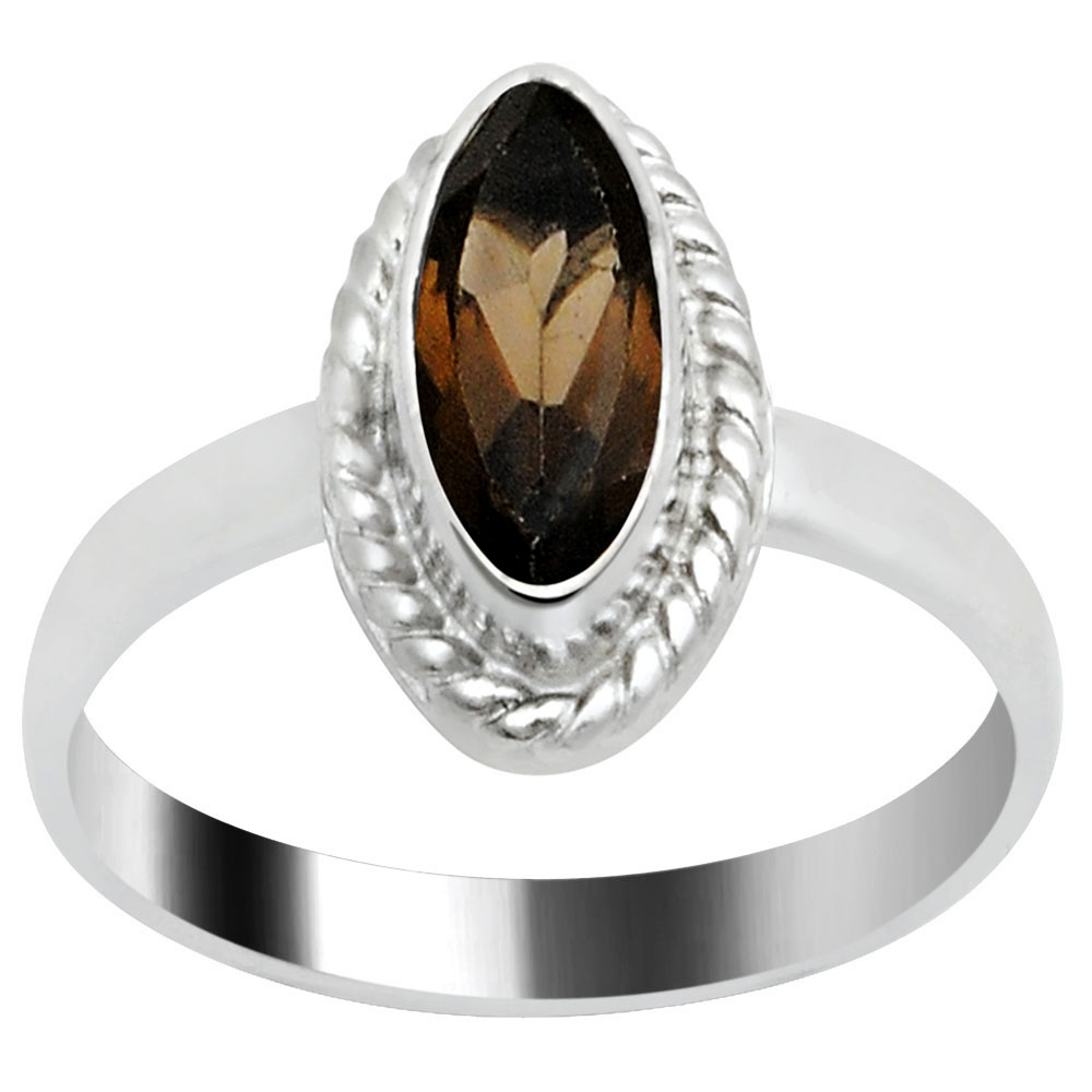 Orchid Jewelry Silver Overlay 1 Carat Smoky Quartz Single Stone Fashion Ring