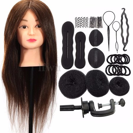 24'' 100% Real Human Hair Training Practice Head Mannequin Hairdressing With Clamp + Braid