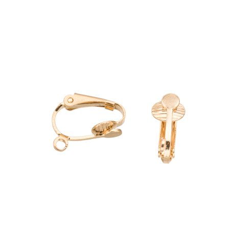 Clip-On Earring, Plain Faux Pierced With Loop, 16K Gold-Finished Brass, 6x11.3mm Sold per pkg of 10