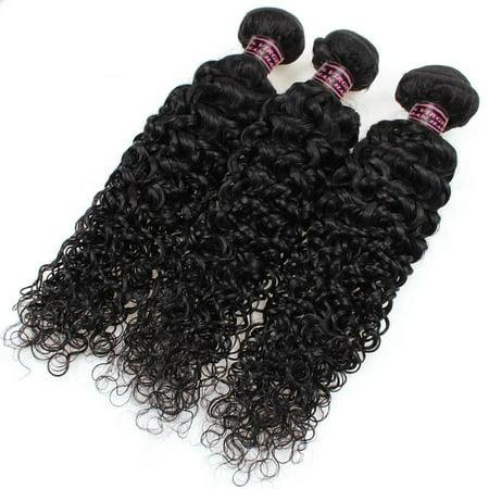 Allove 7A Ear to Ear Lace Frontal Closure with 3 Bundles Peruvian Curly Hair Virgin Hair, 28