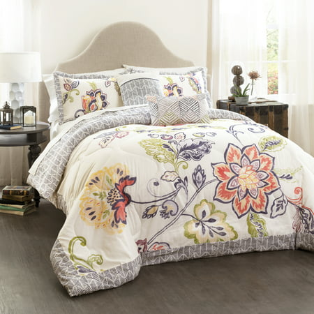 Lush Decor Aster Quilted Comforter Coral/Navy 5-Piece Set, King