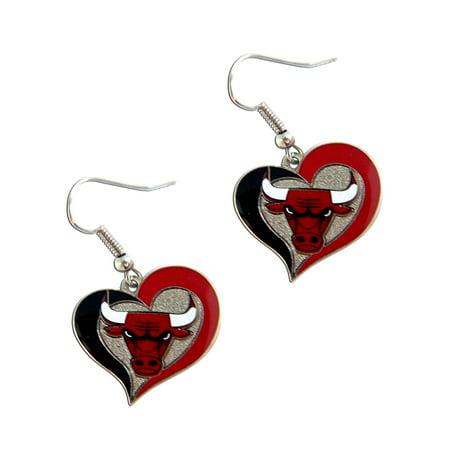 Nba Chicago Bulls Swirl Heart Shape Sports Team Logo Dangle Earring Set Charm Gift