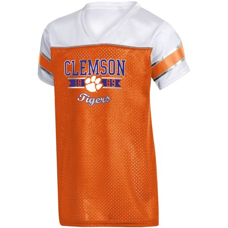 Girls Youth Russell Orange Clemson Tigers Team V-Neck