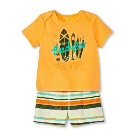 Orange Infant 3 Piece (Cherokee Infant Boys 2-Piece Orange Surfer Beach T-Shirt & Short)