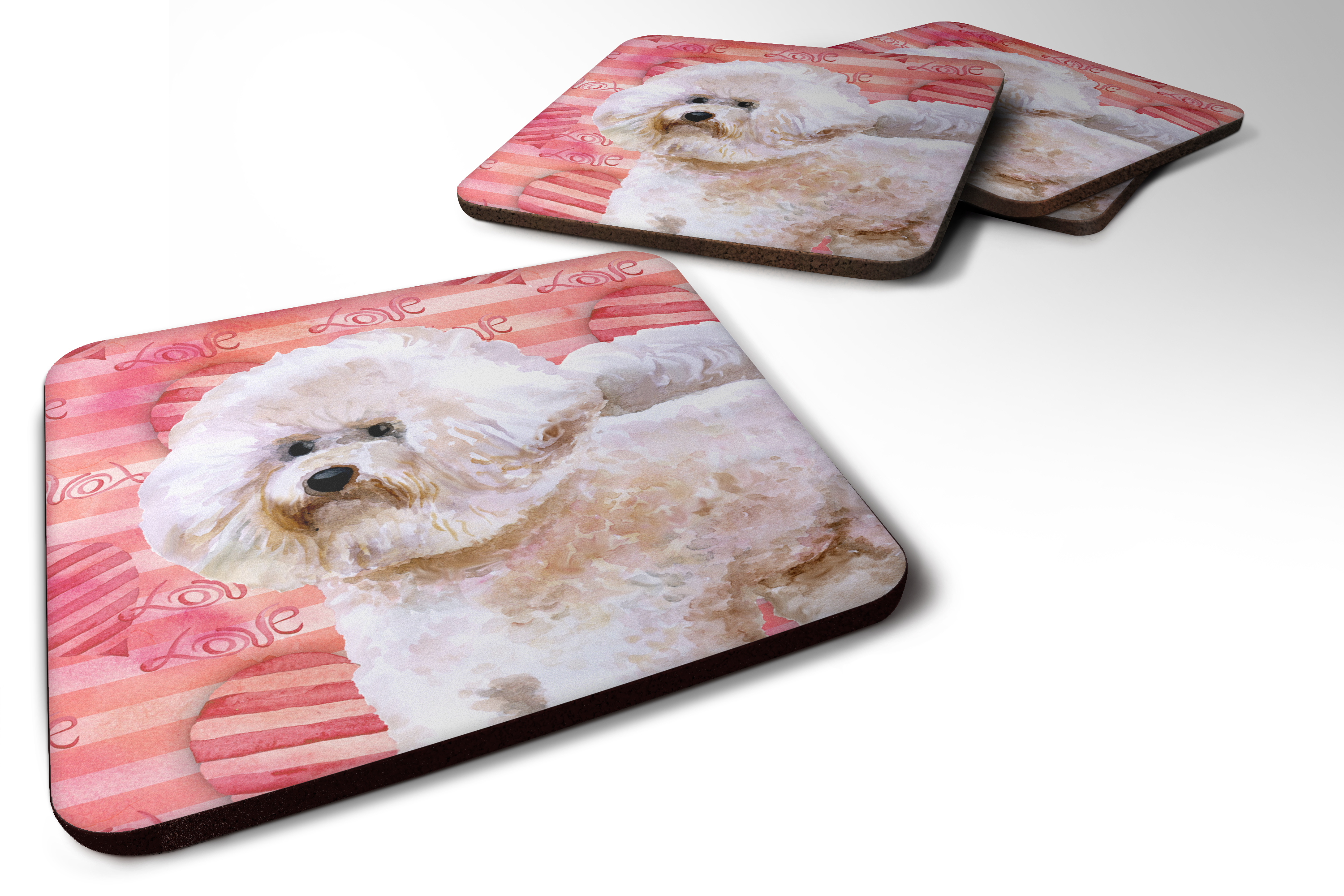 Bichon Frise working on a Computer art tile coaster gift