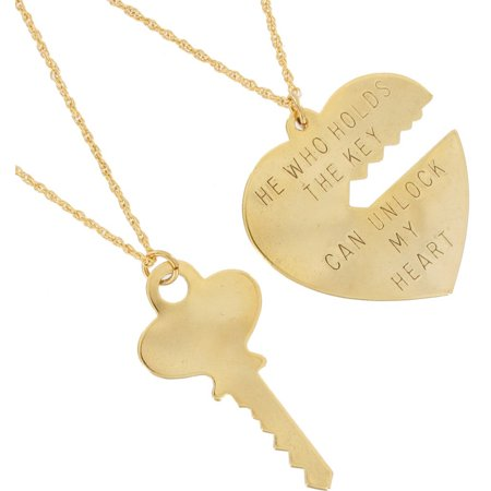 "Gold Tone ""Key to My Heart"" Large Heart and Key Pendant Sweetheart Necklaces Set"
