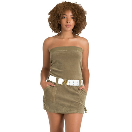 Sweet Vibes Junior Women Olive Stretch Terry Cloth Tube Dress Contrast Belt