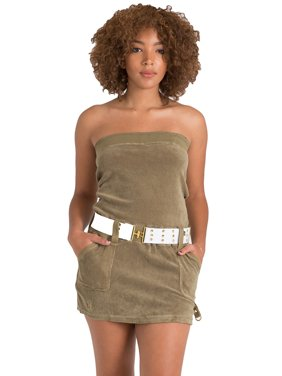 7126c8f502e Product Image Sweet Vibes Junior Women Olive Stretch Terry Cloth Tube Dress  Contrast Belt