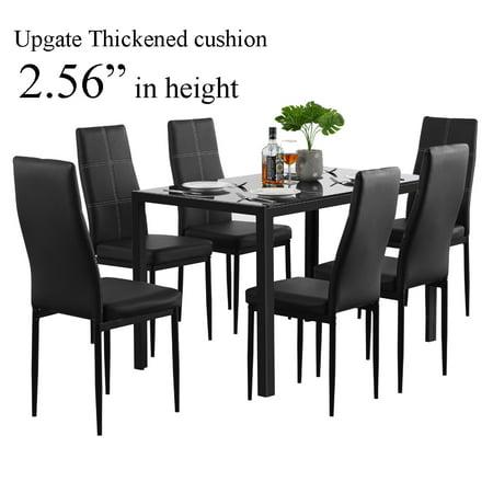 Zimtown Modern Dining Table Set 6 Chair Glass Metal Kitchen Room Breakfast (Modern Glass Dining)