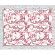 Floral Tapestry, Romantic Nature Scroll Style Pattern with Hand Drawn Leaves and Petals, Wall Hanging for Bedroom Living Room Dorm Decor, 60W X 40L Inches, Maroon Coral and White, by Ambesonne