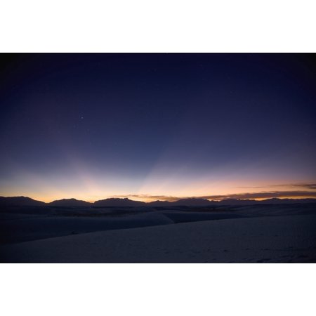 Sunset Landscape Depicting Crepuscular Rays At White Sands National Monument New Mexico Poster Print