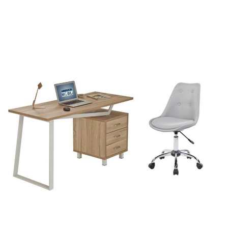 2 Piece Mid Century Modern Office Set with Armless Desk Chair and Computer - Fabric Computer Desk