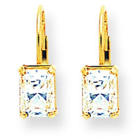 Emerald Cut Jewelry (14K Yellow Gold Emerald Cut CZ Earrings)