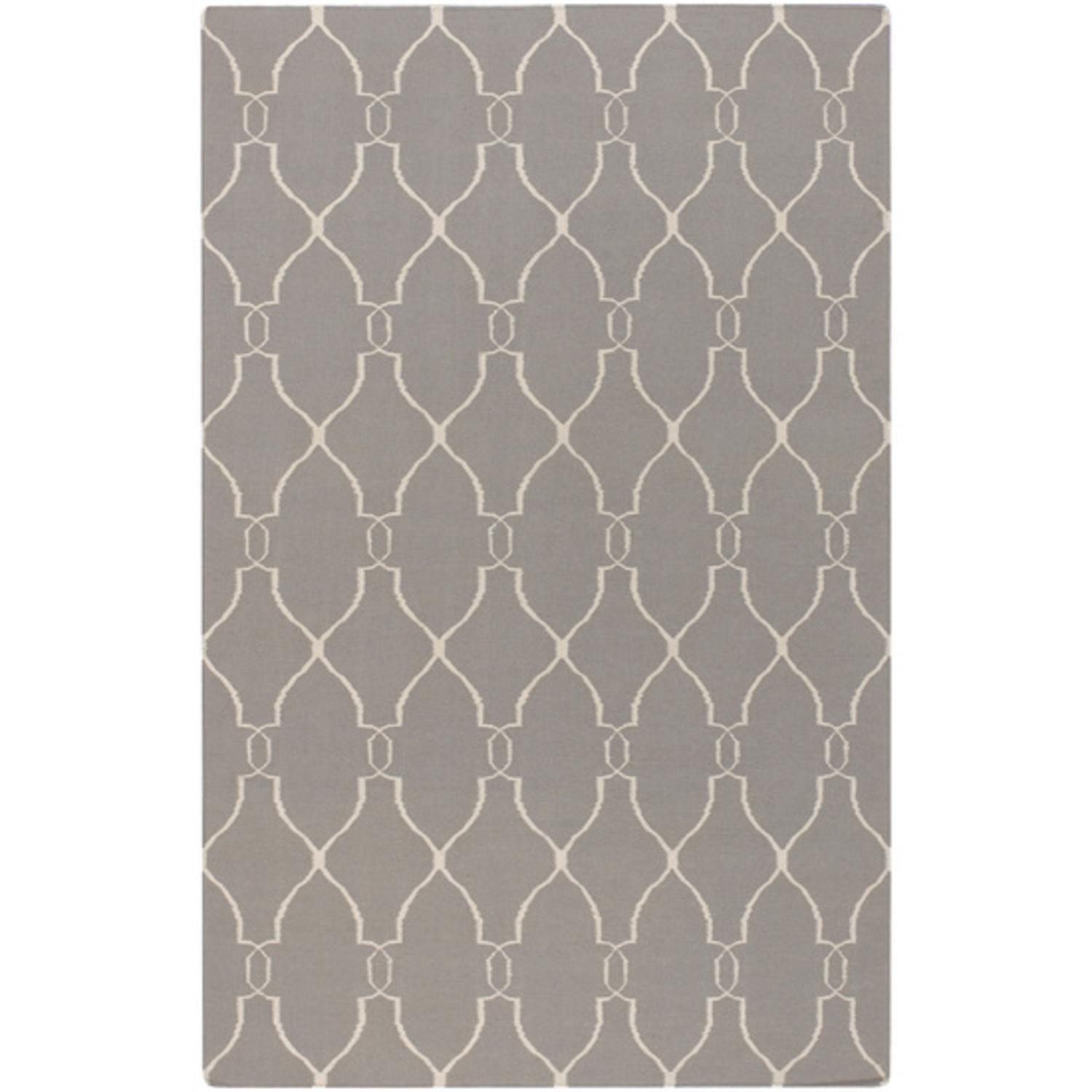 5' x 8' Open Swirled Lavender Gray and Ivory Hand Woven Wool Area Throw Rug