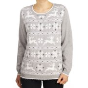 Alfred Dunner NEW Gray Women's Large PL Petite Reindeer Scoop Neck Sweater
