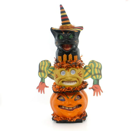Halloween TOTUM PUMPKIN FIGURINE Paper Pulp Black Cat Gourd Lighted Cj92016