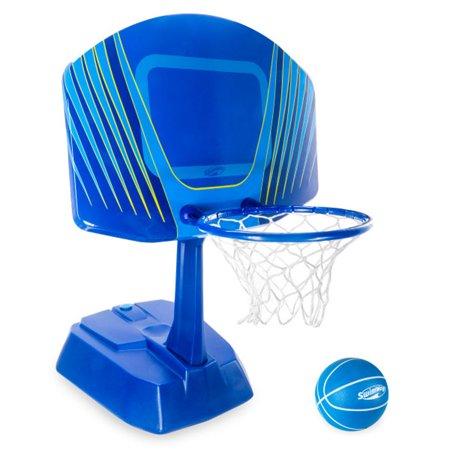SwimWays 6043634 Wet Net Swimming Pool Basketball Set w/ 28 Inch Backboard, Blue (Swimming Basketball)