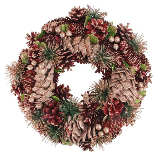 The Holiday Aisle Dusty Rose Cone and Berrie Artificial Christmas 13'' Pine Wreath