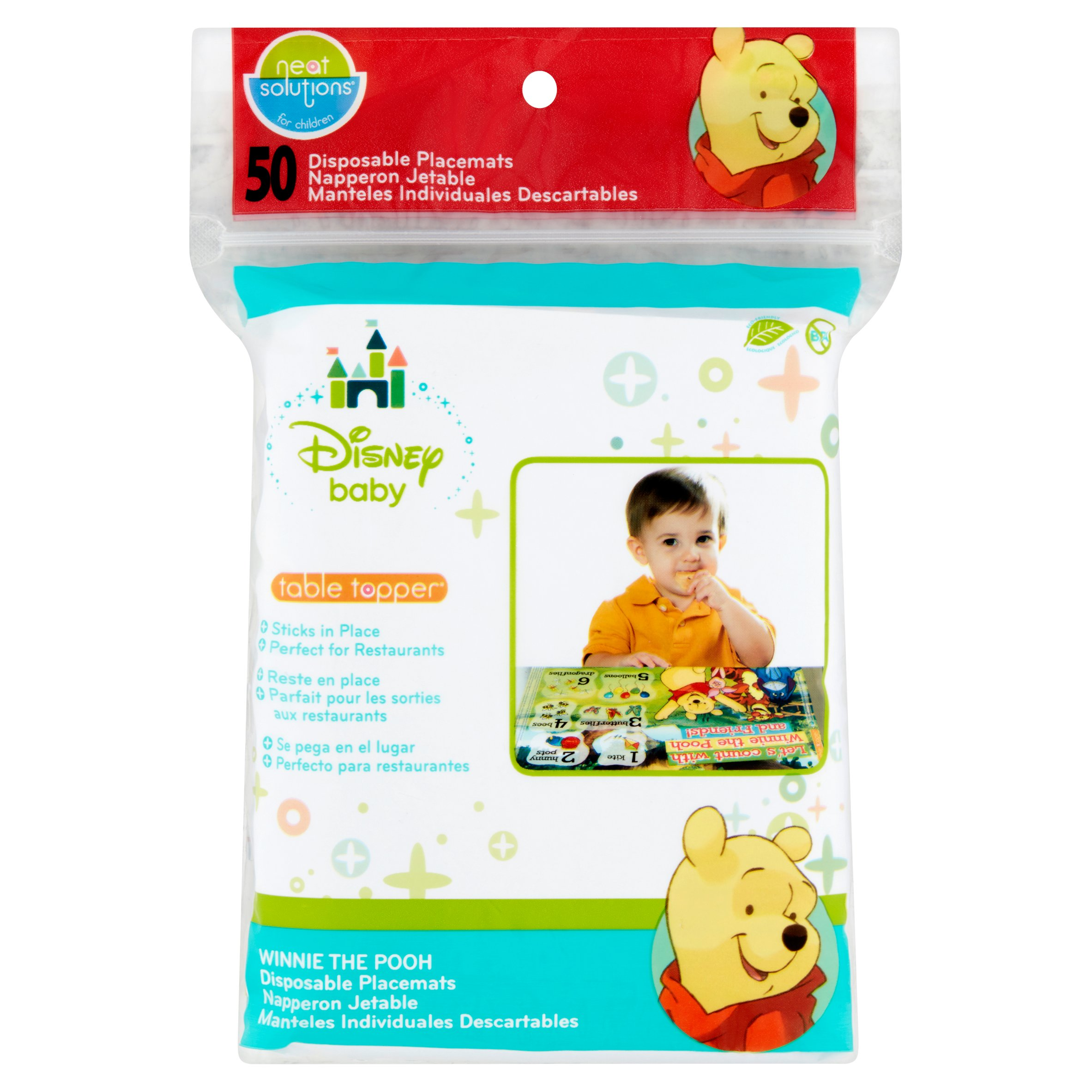 Neat Solutions for Children Disney Baby Table Topper Disposable Placemats, 50 count