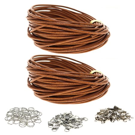 10 Meters 1.8mm Genuine Leather Cord for Jewelry Making and 124 Jewelry Findings, Thread Leather Necklace Cord, String for Bracelets, Necklace Bracelet Kit 10 Meters 1.8mm Genuine Leather Cord with 50 jump rings, 50 clamp ends, and 24 lobster clasps (124 jewelry findings)