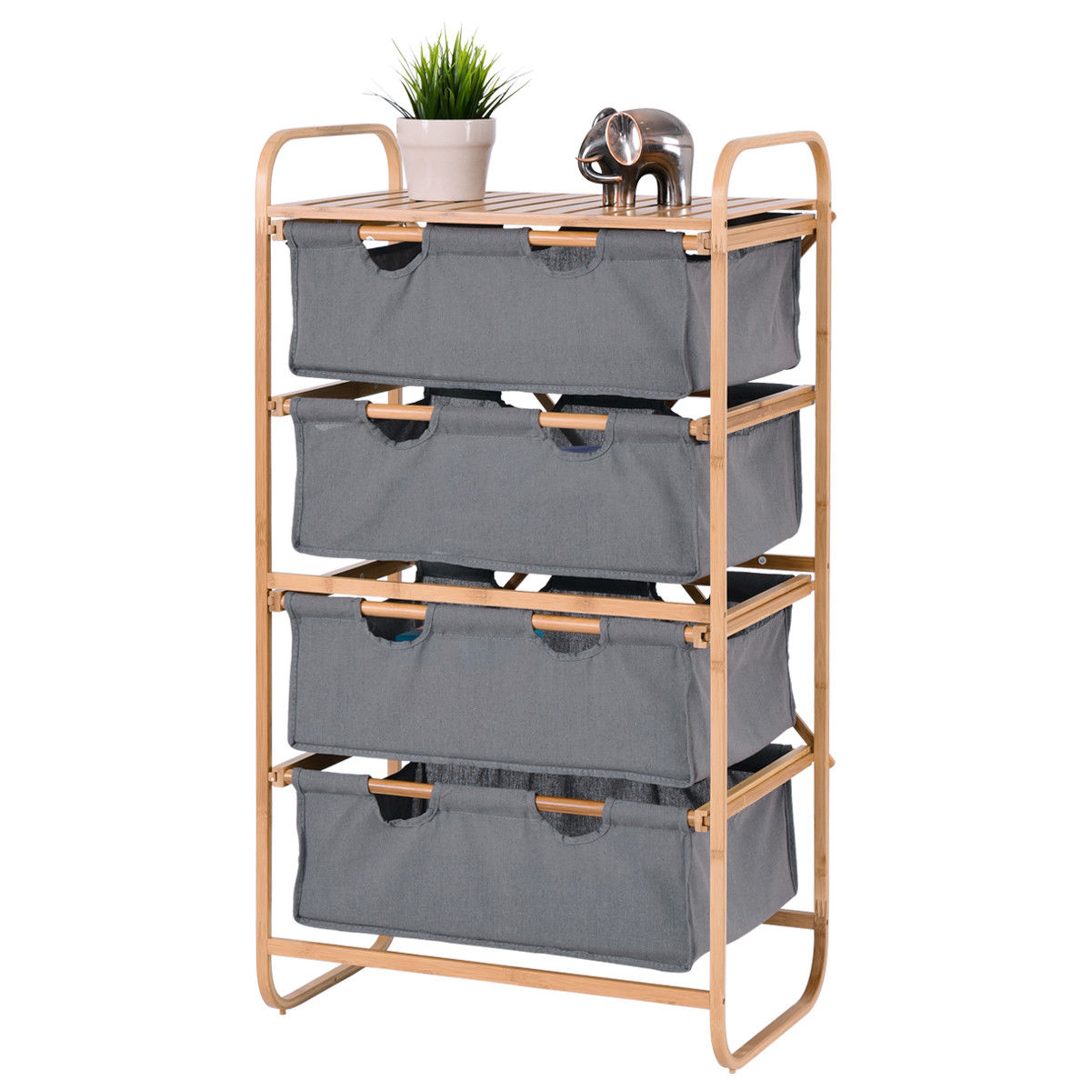 Costway 4 Large Sliding Drawer Bamboo Dresser Bins Storage Unit Organizer Laundry Hamper