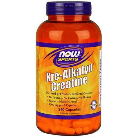NOW Sports Kre-Alkalyn Creatine Capsules, 240 Ct (Kre Alkalyn Creatine Powder)