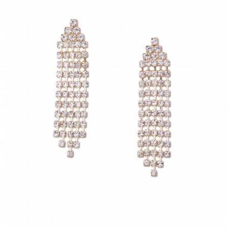 Charleston  Bridal Gold Crystal Rhinestones 5 Lines Dangle Earring - image 1 de 1