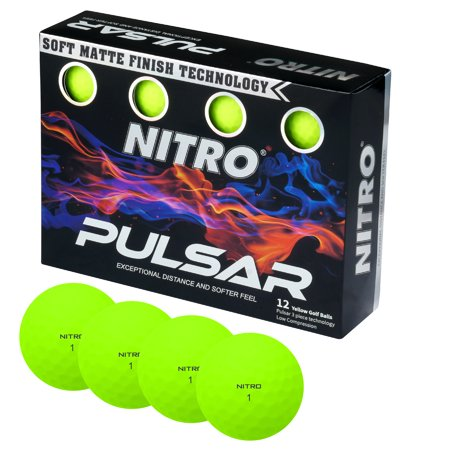 Nitro Golf Pulsar Golf Balls, Yellow, 12 Pack](Light Golf Balls)