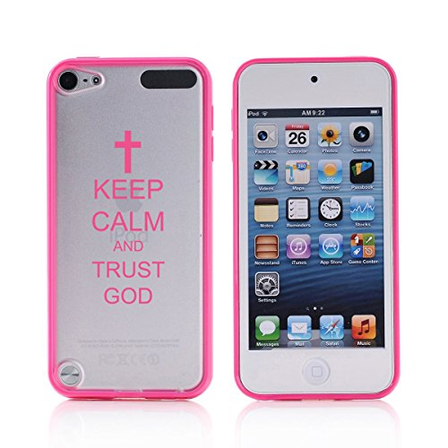 For Apple iPod Touch 5 5th Transparent Clear Hard TPU Case Cover Keep Calm and Trust God Cross (Hot Pink)