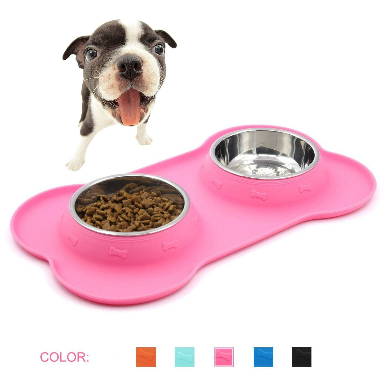 Small Dogs or Cats Stainless Steel Water Food Bowls in Non-Skid Silicone Mat