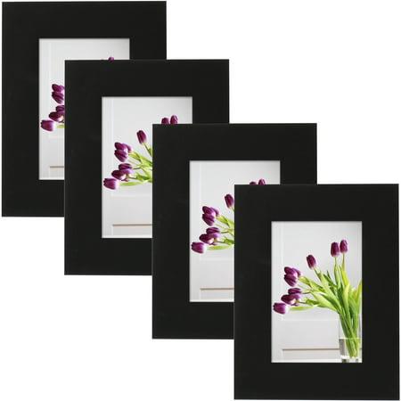 mainstays museum 4 x 6 picture frame black set of 4. Black Bedroom Furniture Sets. Home Design Ideas