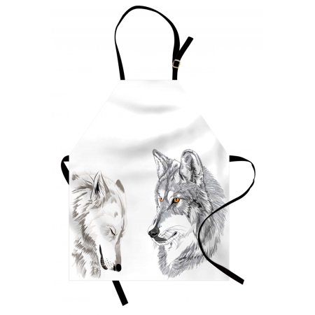 Sketchy Apron Two Wolf Portraits Sleeping Hunting Carnivore Animals Nature Wildlife Theme, Unisex Kitchen Bib Apron with Adjustable Neck for Cooking Baking Gardening, Beige Grey Orange, by (Best Hunting Bibs 2019)