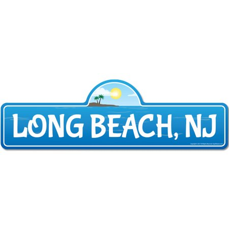 Long, NJ New Jersey Beach Street Sign | Indoor/Outdoor | Surfer, Ocean Lover, Décor For Beach House, Garages, Living Rooms, Bedroom | Signmission Personalized