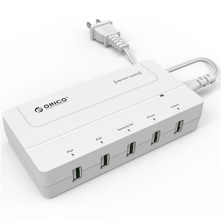 Top 5 Usb (ORICO Portable 5 Ports 30W High-Speed Desktop Travel Smart USB Hub Charger Adapter for iPhone iPad Samsung HTC LG Blackberry etc.. White)