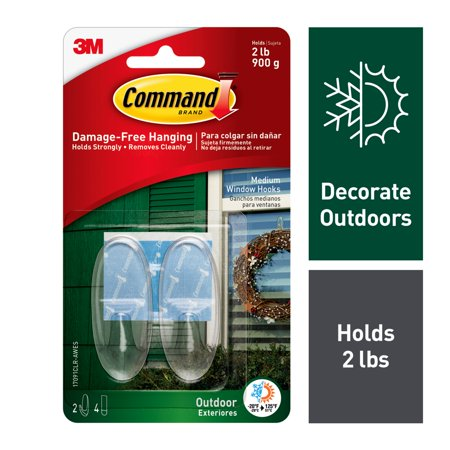 Command Outdoor Clear Window Hooks, Medium, 2 Hooks, 4