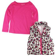 One Step Up Little Girls' 2-4T Cheetah Bubble Vest with Long Sleeve Tee Set