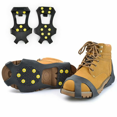 1 Pair Ice & Snow Crampons, Ice Cleats Traction Snow Grips Traction Cleat Anti Slip 10-Stud Crampons for Shoe/Boot Slip-on Stretch Footwear Men & Women-L thumbnail