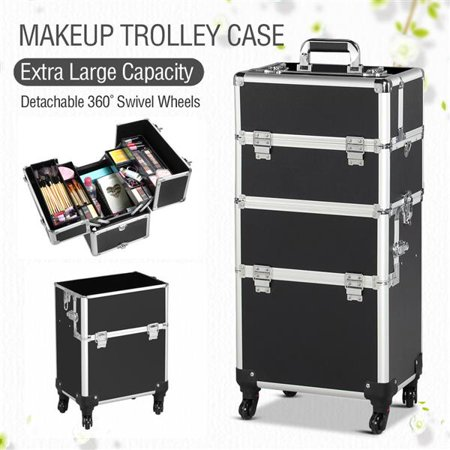 Topeakmart 3 in 1 Professional Aluminum Rolling Makeup Trolley Case Cosmetic Organizer Makeup Case w/4 Removable Rolling Wheels Black