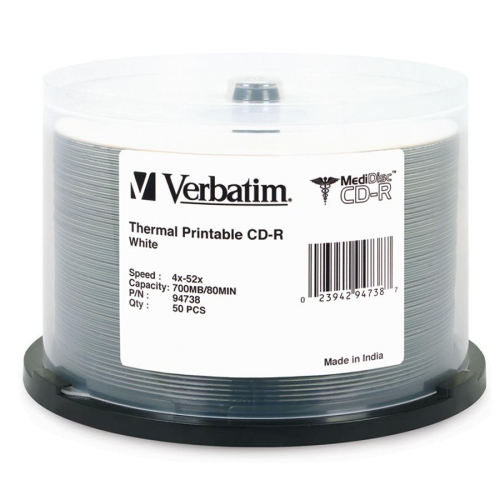 Verbatim 94738 Verbatim MediDisc CD-R 700MB 52X White Thermal Printable with Branded Hub - 50pk Spindle - Thermal Printable