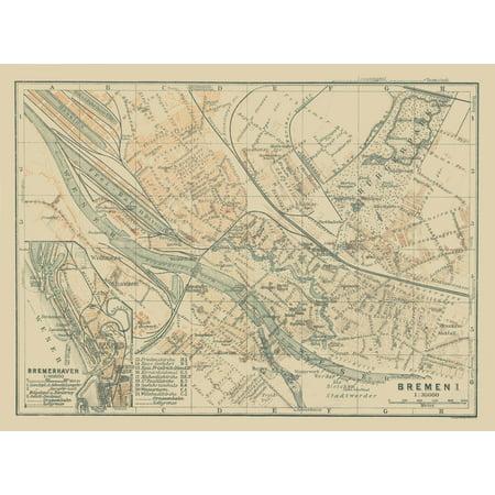 International Map Bremen Bremerhaven Germany Baedeker 1914