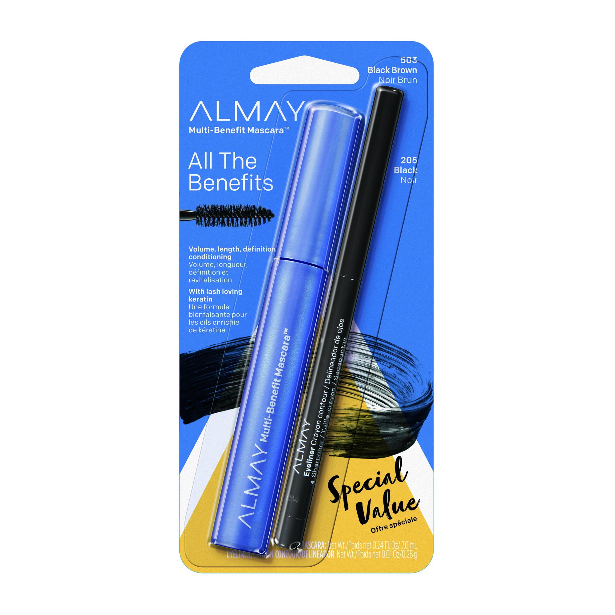 Almay One Coat Multi-Benefit Mascara with Eye Liner, Black Brown