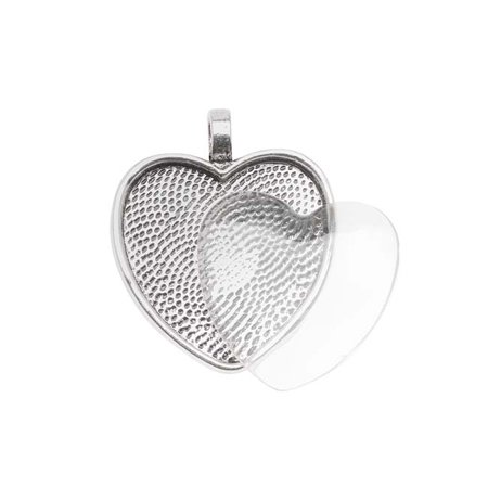 - Antiqued Silver Plated Heart Bezel With Glass Heart Cabochon 25mm - Pendant Set
